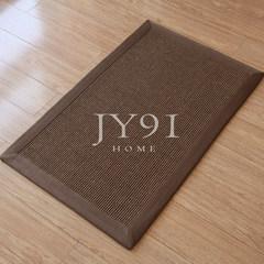 Long memory, entrance door mat, natural sisal carpet, linen floor mat, environmental protection, dirty living room, tea table, doormat, custom size, customer service, JY21+Y14 Brown edge + antiskid rubber soles.