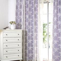 韩式亮色系紫色粉色多色遮光窗帘梦幻蕾丝纱田园窗纱窗帘定制 不带帘头+平型 蕾丝纱