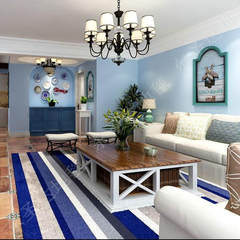 Simple, cool, blue Mediterranean carpet, living room, coffee table, sofa, custom bedroom, bed blanket Custom size contact customer service Color as shown