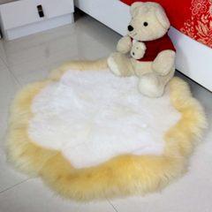 Custom-made Australian sheepskin wool plum carpet pure wool carpet living room tea table carpet bedroom bed circular carpet 80× 200CM white gray tip