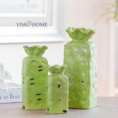 Defective spots green glazed ceramic crack purse vase Mediterranean retro table decoration old pendulum Orange medium