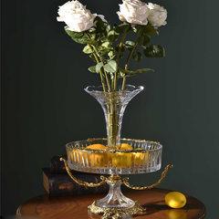 European modern crystal copper inlaid Home Furnishing vase floral arrangement model of the housing decoration decoration decoration style luxury Transparent crystal