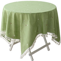 Small fresh green tablecloth table cloth tablecloth table cloth round square garden art tassel cover towels Green bamboo owl wallpaper 140*140CM