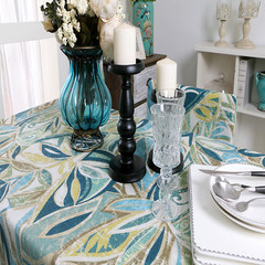 The popularity of American New Retro Blue flowers with edge table cloth tablecloth table cloth with towel Full color 65+17 vertical *180cm