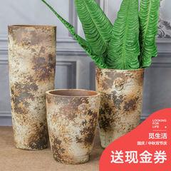 Jingdezhen landing a combination of three wide mouth pot flower vase vintage old coarse pottery vase of flower Three piece set