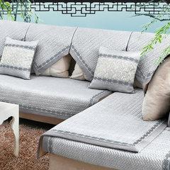 骆易家 欧式沙发垫四季通用沙发套坐垫布艺沙发巾防滑沙发罩 定做 许诺四季 灰蓝 定做不退不换,拍下改价