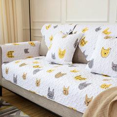 莫耐河 喵星人汪星人卡通简约北欧全棉布艺沙发垫防滑沙发盖巾套 Meow喵星人 110*210cm