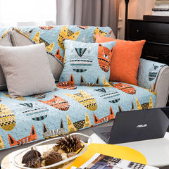 莫耐河 奇趣纸老虎全棉布艺沙发垫蓝色耐脏防滑三人组合沙发坐垫 奇趣纸老虎 110*210cm