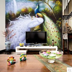 European vertical version of large murals, entrance living room, TV wall, bedroom, background, wall, paper, wallpaper, 3D seamless Peacock [seamless] 5D crystal concave convex mural 1 square Wallpaper + special glue