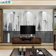 The wall in the background of modern city building seamless custom TV wall mural wallpaper outdoor large hotel High end natural linen (whole) / square meter