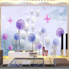 Large mural seamless warm sofa TV background wall paper dandelion non-woven wallpaper 3D stereo wallcloth [seamless] 5D crystal concave convex mural 1 square Wallpaper + special glue