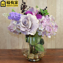 Model room, new classical European style simulation flower, retro color water spray PU high-end simulation flower