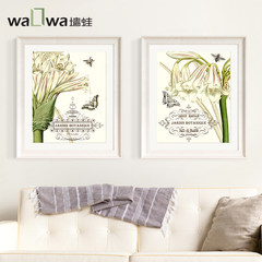 The wall frog flowers American restaurant decoration painting the living room bedroom bedside hanging aisle porch Shuangpin mural VS2 40*40 Simple black wood grain frame Oil film laminating + low reflective organic glass