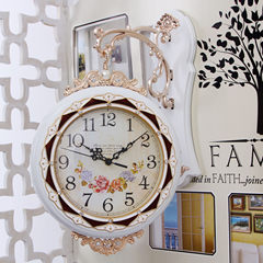 Double wall pastoral living fashion creative European mute double sided clock wall clock two large quartz clock