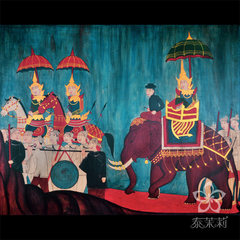 Thailand southeast painting decorative painting Thailand aristocratic classical Lanna style painting frame painting painting room 420*480mm Other types Oil film laminating + low reflective organic glass