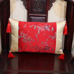 Yibixu Chinese style sofa cushion for leaning on office waist pillow head of bed head of bed of head of bed of head of bed of head of bed of head of a car to protect waist to embrace pillowcase to rest on pillow large and outsized large size square pillow: 55X55cm red dragon feng