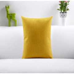 The IKEA pure plain cotton linen cushion sofa pillow set Vintage American country car cushion Large square pillow: 50X50cm Bright yellow