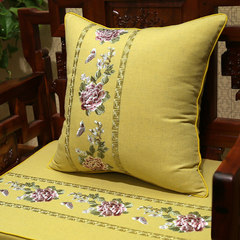 New Chinese style pillow, cotton and linen embroidered rosewood sofa cushion, soft head, soft bag, waist, back cover, large and customized 35x50cm (pillow cover + inner core) blue (peony with echo pattern)