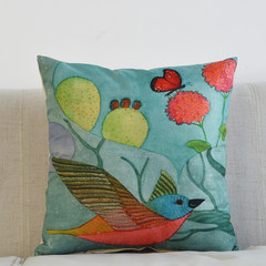 Art painting cotton and linen pillow with core retro American bird living room pillow car back pillow sofa linen cushion 45X45(high quality core + pillowcase) HB5