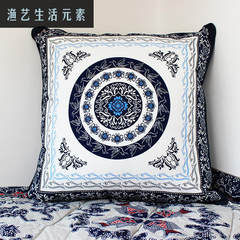 Pillow, cushion, bag, pillow, double pattern, Chinese wind cloth, blue and white porcelain fish, pure cotton cloth About 55x55cm large (without core) Andrew blue