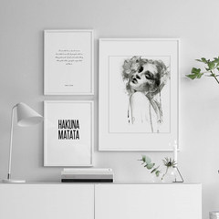 NOC IKEA simple black and white abstract figure decoration painting, Nordic living room, bedroom hanging painting restaurant, study painting 30*40 Other types Oil film laminating + low reflective organic glass