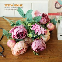 European high-grade flowers wedding flower peony flowers retro simulation room decoration floral bouquet of roses flowers The Peony Rose Pink series