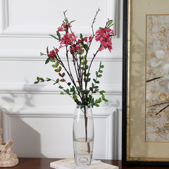 The wild flower simulation boutique super floral floral materials dried flowers Home Furnishing beam fabric silk flower vase Small transparent vase +1 rose red wild Suihua to beam