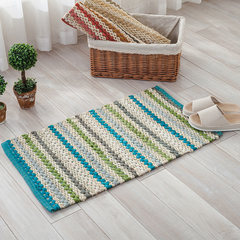 India all cotton knitted fabric floor mat, doormat, dustproof mat, bathroom absorbent, anti slip mat, bedroom carpet, custom size, please consult customer service a four - blue stripe.