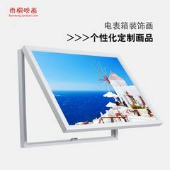 Electric meter box decoration painting, living room pastoral landscape hanging painting, restaurant wall painting with power box, switch box shielding mural 30*40 Simple white clean frame For other styles, please note the drawing number Oil film laminatin