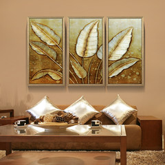 Gallery oil painting pure hand painted, thick oil texture, Bodhi leaf, gold foil painting, living room triple frame decorative painting 23 cm *28 cm Frameless paintings Oil film laminating + low reflective organic glass