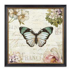 Flower and bird, butterfly, American decorative painting, framed entrance, country painting, sofa, living room, wall painting, bedside painting, restaurant hanging painting Outline size 73*73CM Textured frame + skin textured film + high transparent plexig