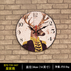 European creative personality retro modern minimalist living room wall clock mute household wooden wall clock round the clock 14 inches Sub gray