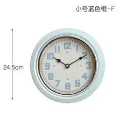 American country iron creative fashion clock antique dining room store clock clock retro European mute You can edit it after you select it Trumpet blue -F (8 inches)