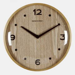 Chinese style solid wood living room office clock China mute retro wind round quartz clock watch clock 12 inches Log color