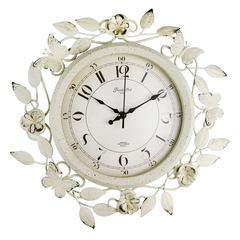 Iron flowers watch creative personality European style village garden art room mute round clock clock 14 inches New butterfly