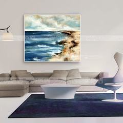 Nordic modern simple European and American large Abstract living room frameless painting sea decoration painting wall painting bedroom bedroom painting 60*60 Simple black wood grain frame Champagne outline Oil film laminating + low reflective organic glas