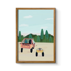 The simplicity of modern decorative painting room restaurant beioufeng literary small fresh hanging paintings. Dream of life 70× 100cm inlay black HG02717 dream on the distant mountains Single price