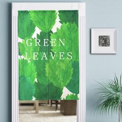 Cotton and linen fabric door curtain thickening, green leaf semi shading, semi curtain, half curtain, bedroom, bathroom, Fengshui curtain, customizable 85*120cm Hello leaf F