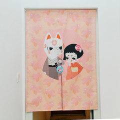 Japanese cloth art porch bedroom door curtain half curtain kitchen bathroom partition curtain shade shade shade shade curtain adornment hangs curtain red goldfish