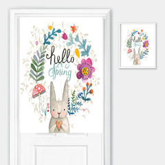 Lovely rabbit study, bedroom, cotton fabric curtain, curtain Feng Shui semi curtain kitchen partition, curtain curtain hanging curtain 85*90 Flower rabbit