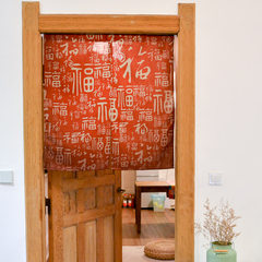 Chinese style disc grain door curtain cotton and linen cloth art curtain partition curtain traditional door curtain national wind and water curtain send pole full curtain lucky character 85*90