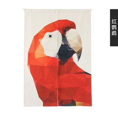 Modern creative door curtain cloth art animal day type warm curtain sitting room partition screen feng shui curtain kitchen toilet half curtain 85x120cm red parrot