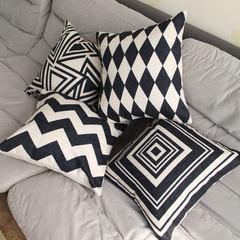 European modern minimalist black stripe geometry office sofa cushion pillow pillow cotton nap Trumpet (45*24 cm) YY (113)