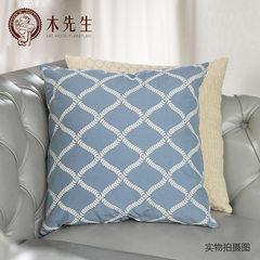 Simple modern North European style garden house cotton pillow on the sofa Bag Blue rhombus square pillow Large square pillow: 50X50cm Figure
