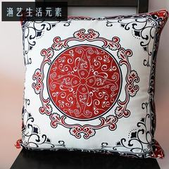 Pillow covers, pillows, pillows, pure cotton, healthy Chinese, home furnishing fabric, soft decoration, Chinese wind cloth, flower of love About 55X55cm Blue Red mixed color (without core)