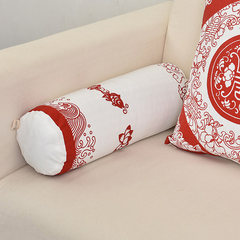 Chinese style restoring ancient ways happy candy pillow bo CAI tang cotton and linen hold pillow cushion for leaning on head cervical vertebra cylinder pillow long round waist cushion large (55*30 centimeters) fortune life 45*45 contain core + candy pillow