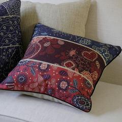 American Abstract blue cushion cotton cushion cushion sofa retro creative office waist pillow cushion Trumpet (45*24 cm) Abstract grid red