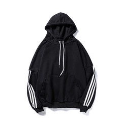 Korean autumn fashion sport coat male hooded head set loose couple students thickened ulzzang autumn sweater 2XL black