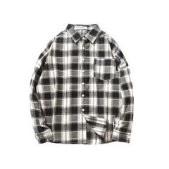 Autumn new men's casual shirt Korean men's shirt color sanding Plaid long sleeved T-shirt youth tide 2XL black