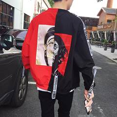Men fall 2017 new spring coat trend of Korean all-match slim handsome BF wind autumn student couples 2XL Red thickening